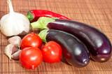 Fresh vegetables on bamboo napkin - 176618899