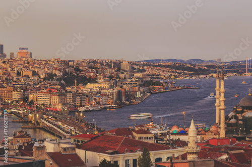 Istanbul view from down town of the city during the twilight with beatiful atmos Poster