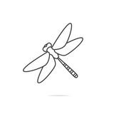 Dragonfly line icon vector - 176621854