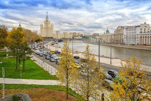 Fridge magnet Temple of the Righteous Anna Conception and Kotelnicheskaya Embankment Building in Moscow, Russia.