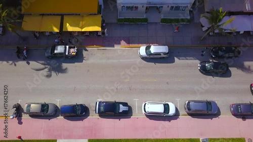 Aerial tilt up Casa Grande hotel Ocean Drive
