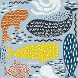 Seamless pattern with sea animal fur-seal,whale, octopus, fish. Childish texture for fabric, textile. Vector background - 176632661
