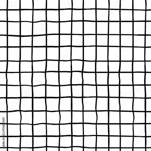 Seamless pattern with hand drawn ink shapes. Trendy black and white background. Great for fabric, textile, wrapping. Vector Illustration - 176632647