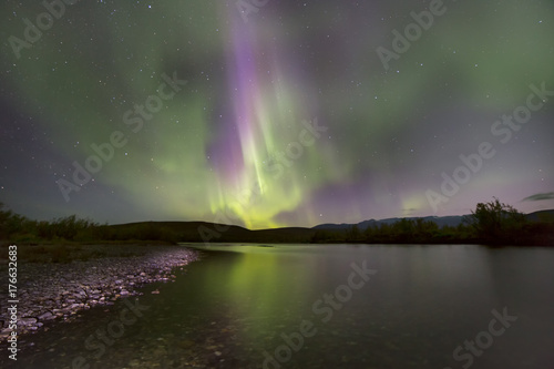 Aluminium Noorderlicht Aurora Borealis over the river. River Paypudyna. Polar Urals. Russia.