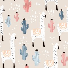 Seamless pattern with lamma, cactus and hand drawn elements. Childish texture. Great for fabric, textile Vector Illustration