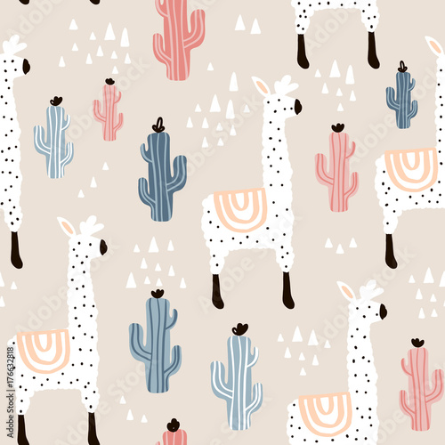 Seamless pattern with lamma, cactus and hand drawn elements. Childish texture. Great for fabric, textile Vector Illustration - 176632818