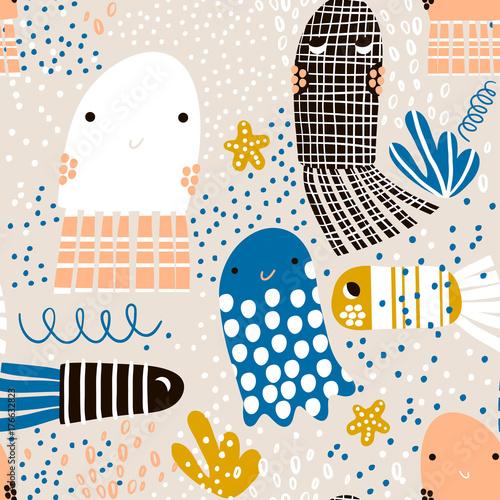 Materiał do szycia Wzór z morza zwierząt galaretki ryb, ryby. Podmorski dziecinna tekstury dla tkanin, wyrobów włókienniczych. Tło wektor