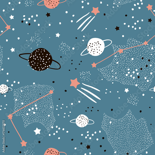 Cotton fabric Seamless pattern with stars, constellations, planets and hand drawn elements. Childish texture. Great for fabric, textile Vector Illustration