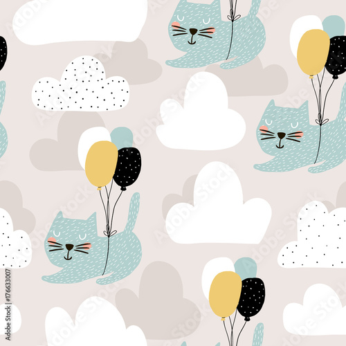 Seamless childish pattern with cute cats flying with balloon. Creative nursery background. Perfect for kids design, fabric, wrapping, wallpaper, textile, apparel - 176633007