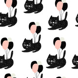 Seamless childish pattern with cute cats flying with balloon. Creative nursery background. Perfect for kids design, fabric, wrapping, wallpaper, textile, apparel - 176633267