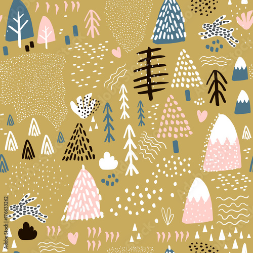 Cotton fabric Seamless pattern with bunny forest elements and hand drawn shapes. Childish texture. Great for fabric, textile Vector Illustration
