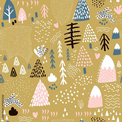 Materiał do szycia Wzór z elementami lasu bunny i ręcznie rysowane kształty. Dziecinna tekstury. Świetne dla tkanin, wyrobów włókienniczych ilustracji wektorowych