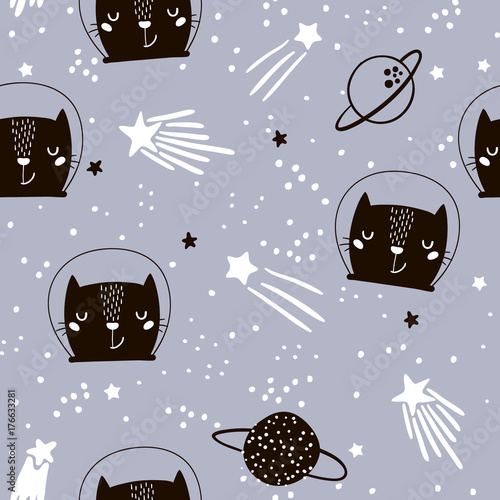 Materiał do szycia Seamless childish pattern with cute cats astronauts. Creative nursery background. Perfect for kids design, fabric, wrapping, wallpaper, textile, apparel
