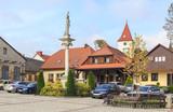 Lipnica Murowana, Poland. Market Square with St. Szymon of Lipnica Column and historic buildings - 176635617