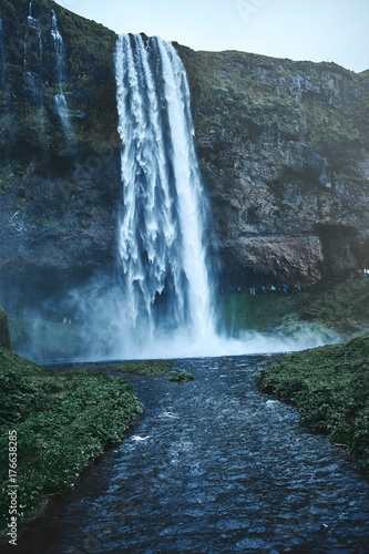 famous Seljalandsfoss waterfall in southern Iceland. treking in Iceland. Travel and landscape photography concept - 176638285