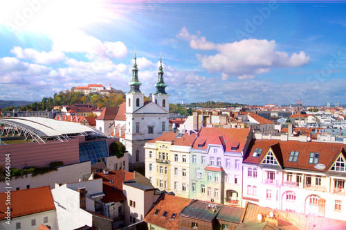 Brno Lens flare panorama with Spilberk Castle Poster