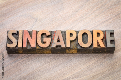 Singapore word abstract in wood type Poster
