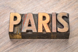 Paris word abstract in wood type - 176645045