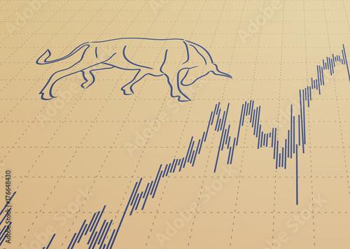 Stock chart and bull symbol.