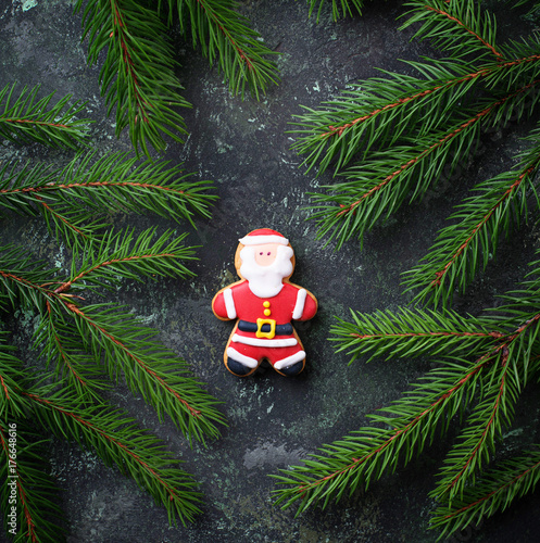 Christmas gingerbread cookies in shape of  Santa Poster