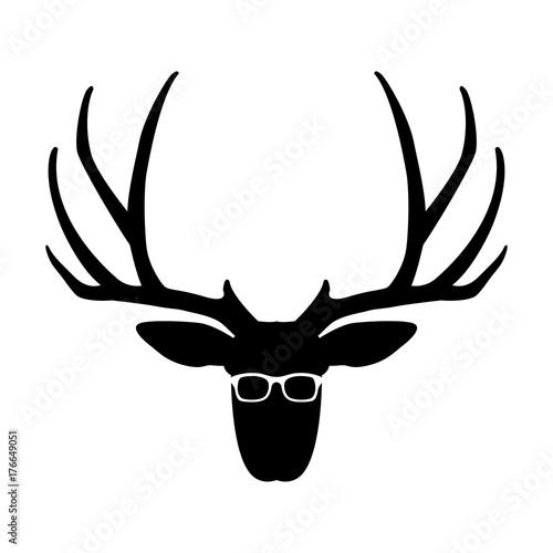Fotobehang Hipster Hert deer face head glasses vector illustration flat style front side