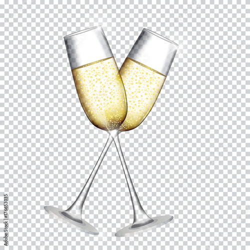 Fototapeta Two Glass of Champagne Isolated on Transparent Background. Vector Illustration