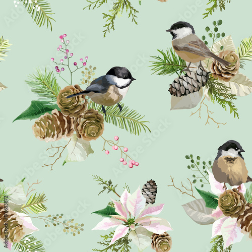 Winter Christmas Birds Seamless Background in Vector. Floral Poinsettia Retro Pattern - 176653872