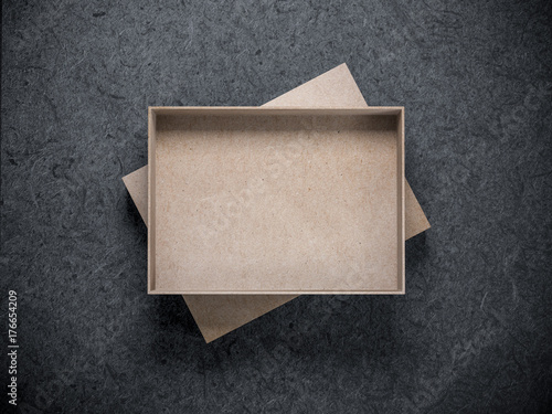 Empty opened Cardboard Box Mockup on dark background, 3d rendering