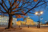 Brandenburg gate or Brandenburger Tor in Berlin, Germany. Herbst abends.