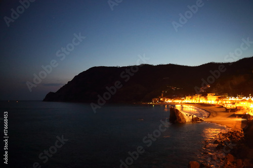 Italy, Monterosso shore at night Poster