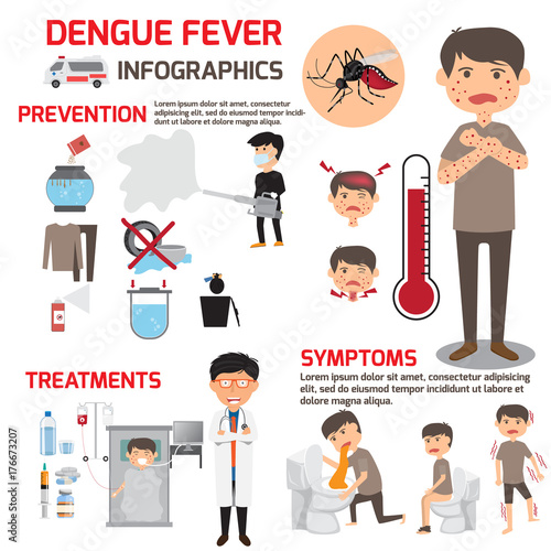 Template design of details dengue fever or flu and symptoms with prevention infographics. health care cartoon vector illustration. - 176673207
