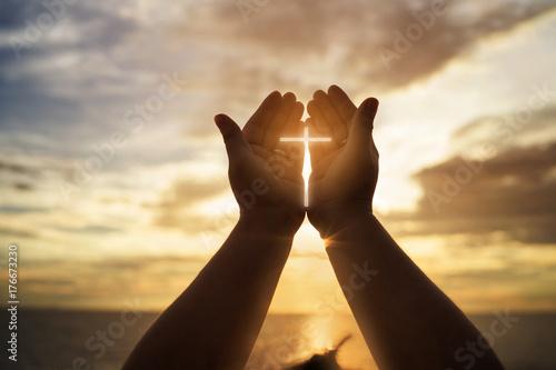 Leinwandbild Motiv Human hands open palm up worship. Eucharist Therapy Bless God Helping Repent Catholic Easter Lent Mind Pray. Christian concept background.