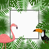Tropical card, poster or banner template with jungle palm tree leaves, pink flamingo and toucan bird. Exotic background with space for text. Vector illustration. - 176673607