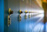 Row of blue school lockers - 176675638