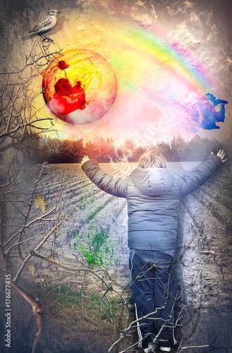 Papiers peints Imagination Futuro. Bambino felice che saluta l'alba