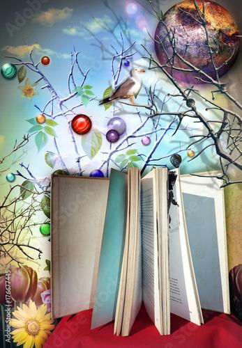 Deurstickers Imagination Libro aperto e illustrato delle favole,leggere per viaggiare con l'immaginazione e la fantasia