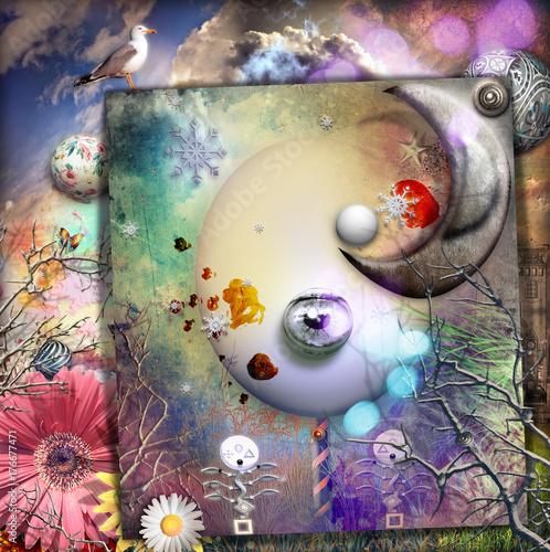 Papiers peints Imagination Collage con paese delle meraviglie,luna e fungo magico