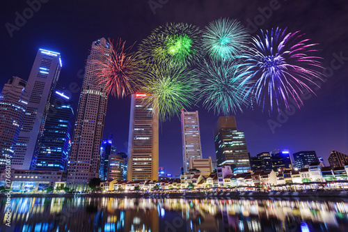 beautiful firework over cityscape view of Singapore city Poster