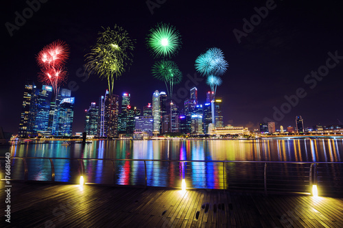 firework over central business district building of Singapore at night Poster