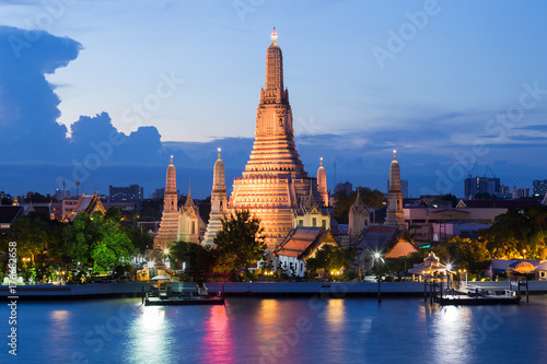 Blue twilight night Arun temple river front, Bangkok Thailand Landmark Poster