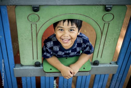 Happy boy at school playground