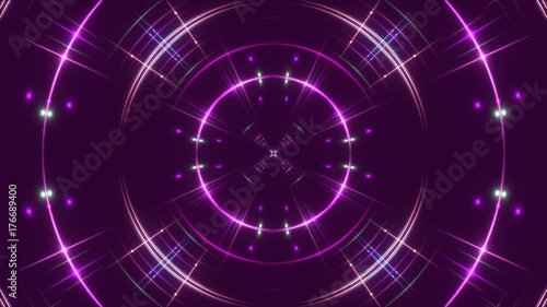 purple abstract background, flashing light and particles, loop