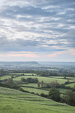 Beautiful dawn landscape over Somerset Levels in English countryside - 176690033