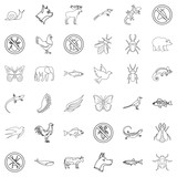 Swallow icons set, outline style - 176691231