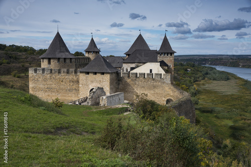Medieval fortress in Khotyn Ukraine Poster
