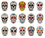 Fototapety Set of sugar skulls illustrations. Dead day. Dia de los muertos.