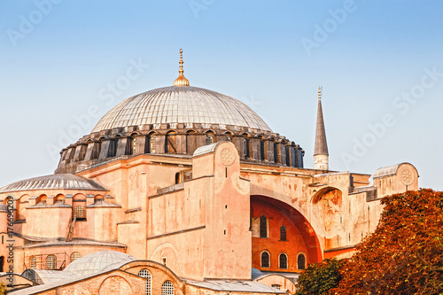 hagia sophia mosque and historical church at day, closeup in istanbul turkey Poster