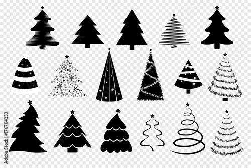 christmas trees silhouette set