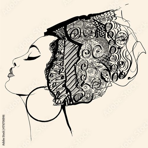 In de dag Art Studio Portrait of cute african woman with hat (profile)