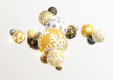 Gold decorative Christmas balls. New year background.